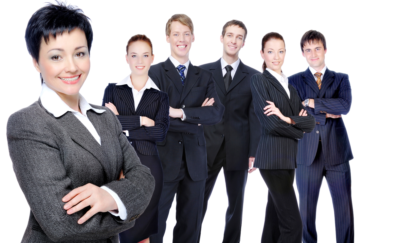 Successful businesswoman with workgroup.